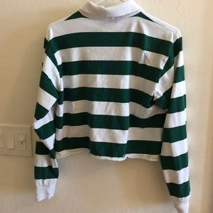 Brandy Melville Tops - Brandy Melville Green and White Striped Collar